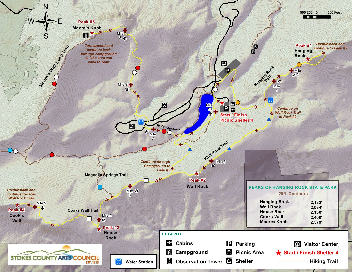 Photo is a trail map for the 2020 Reach the Peaks Hiking and Trail Running Challenge. The trail map/directions are available as text below this image.